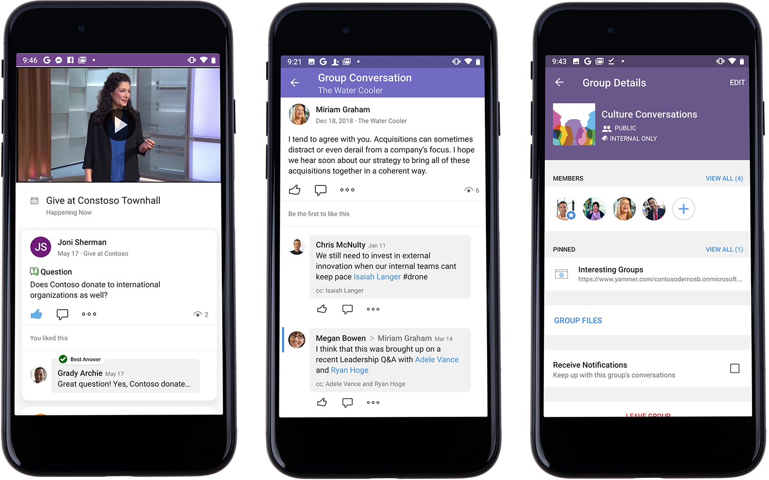 Yammer mobile experience